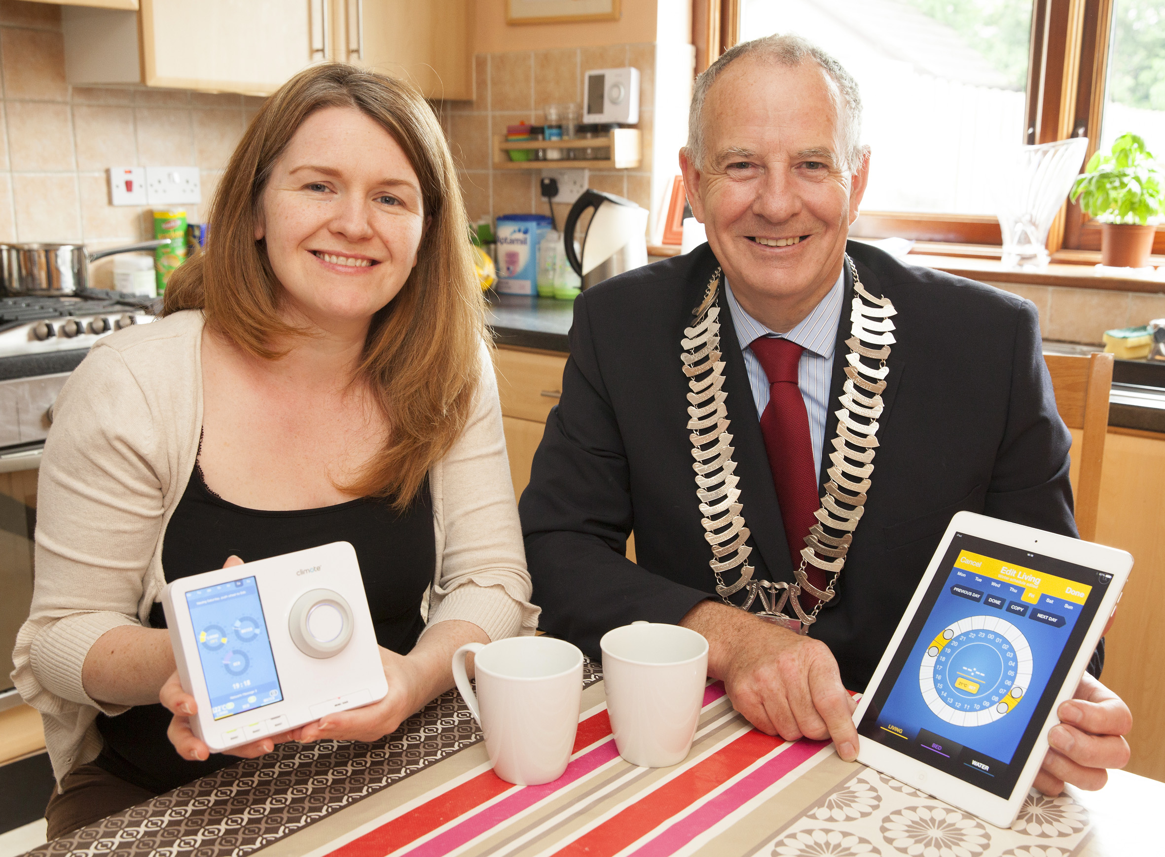 Claire Duffy, Co Louth shows former Cathaoirleach of Louth County Council, Cllr. Oliver Tully the new heating system in her home.