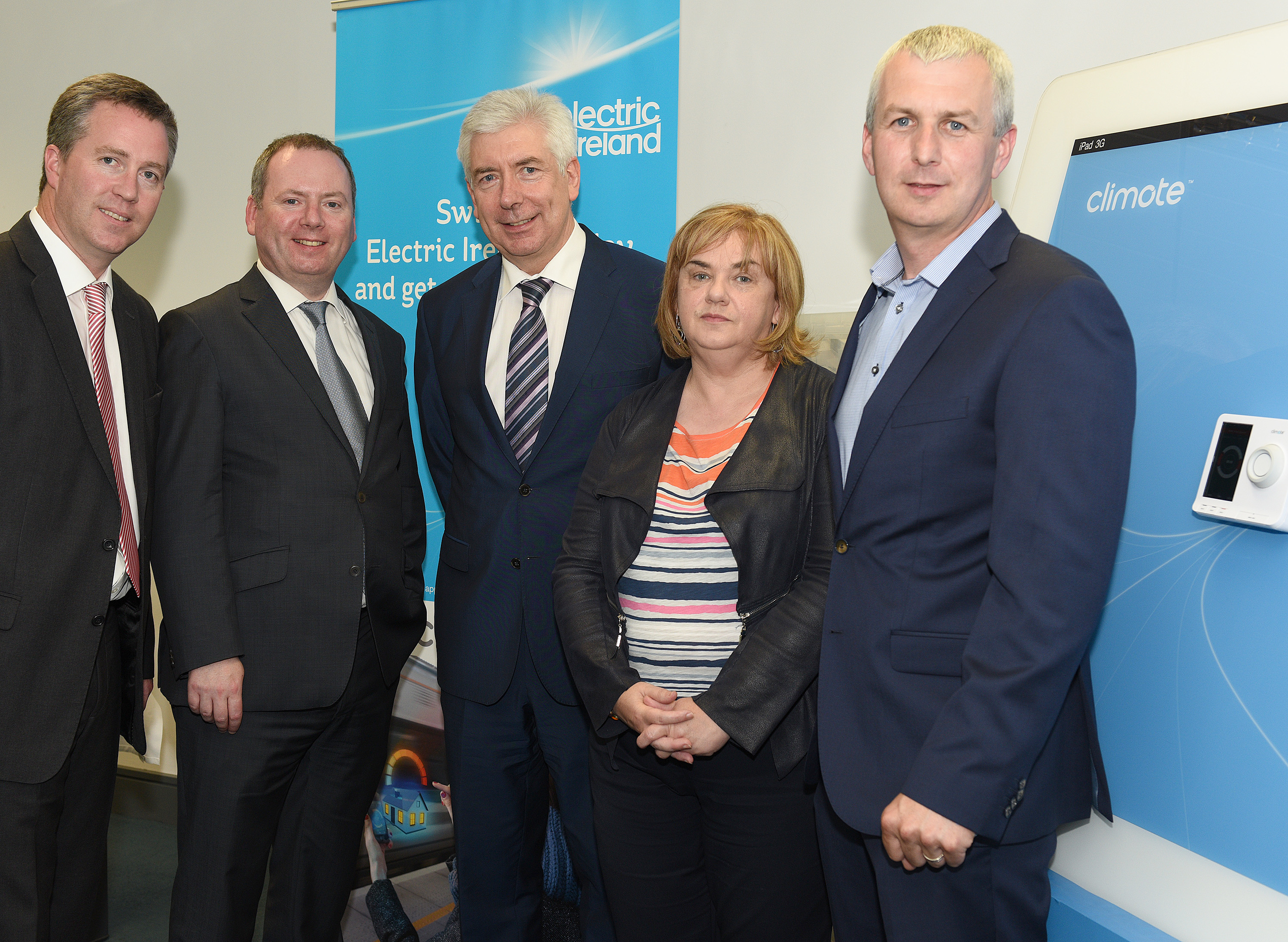 Paul Stapleton, General Manager, Electric Ireland, Brian Motherway, Chief Executive, SEAI, Minister for Communications, Energy and Natural Resources Alex White, Joan Martin, CEO, Louth County Council, Derek Roddy, CEO, climote