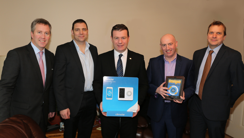 Paul Stapleton General Manager Electric Ireland, Brendan Cunningham Technical Manager Clúid, Alan Kelly T.D. Minister for the Environment, Eamon Conway Managing Director climote  and Neil Bolton Property Services Director Clúid
